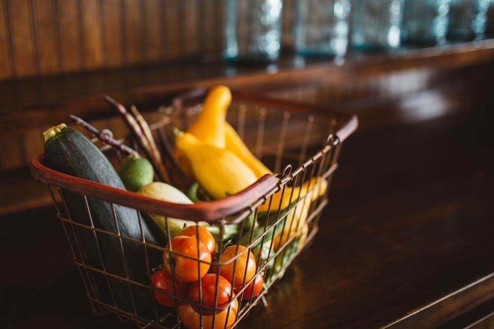 Image of groceries in a basket.